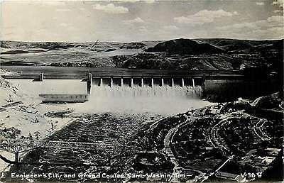 Grand Coulee Dam Washington WA 1950 Engineer's City Dam Real Photo Postcard