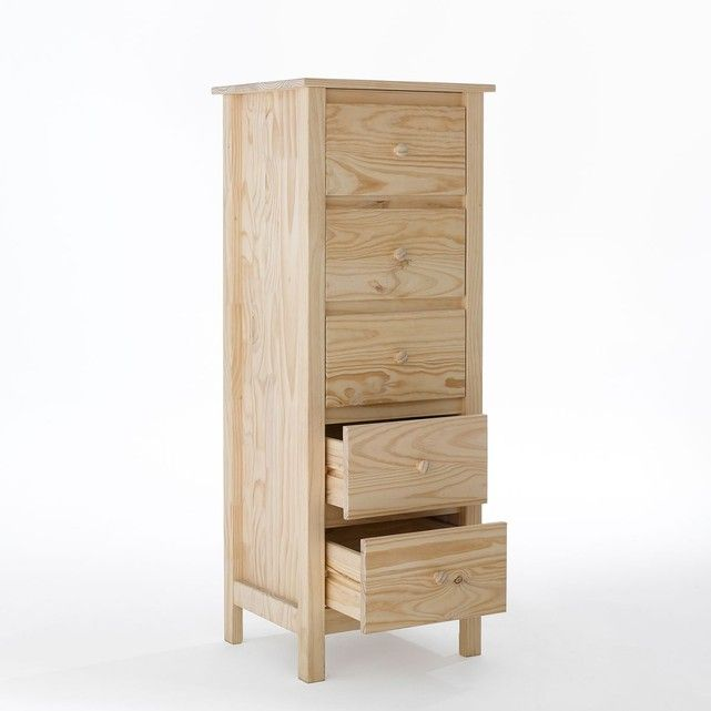 Chiffonnier 5 tiroirs, pin massif brut, Perrine La Redoute Interieurs
