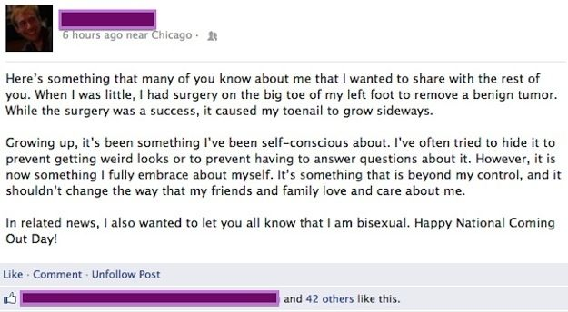Bury the lede on facebook: | 24 Awesomely Creative Ways To Come Out Of The Closet