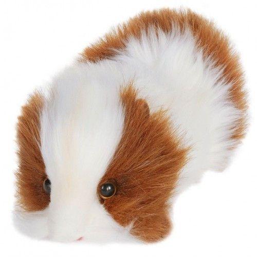 "Hansa Plush Realistic Stuffed Animal - Brown and White Guinea Pig 8""L - Toyabella"