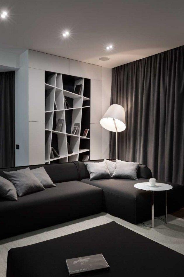 Salon moderne blanc et noir, bibliothèque asymétrique | Black and White Modern living room, asymetric bookshelves