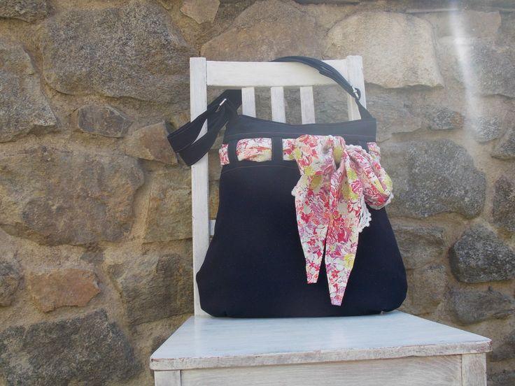 riflová kabelka s šátkem