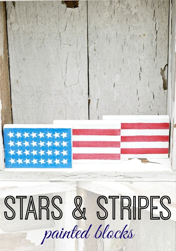 Super easy craft perfect for craft night or would be a cute hostess gift for 4th of July BBQ. Kids could also paint these for a fun summer craft. Stars & Stripes Painted Blocks