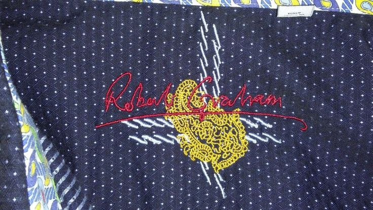 Robert Graham Navy Blue White Polka Dot Button Up Shirt 4XL Flip Cuff Paisley  #RobertGraham #ButtonFront