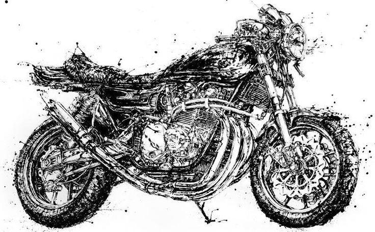 1972 #Kawasaki Z1 by Makoto Endo - #Artist Makoto Endo paints #motorcycles with excruciating detail using chopsticks