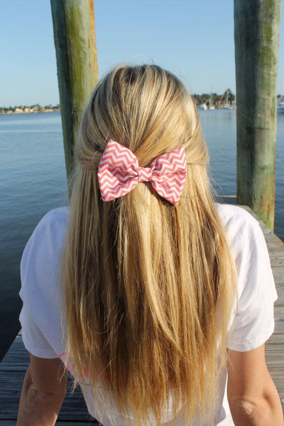 Melon Pink Chevron Bow Tie Hair Bow on Etsy, $7.00 WANT FOR MY BIRTHDAY