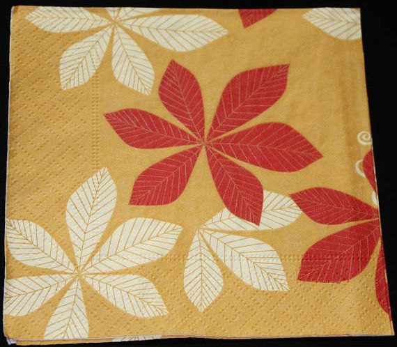 Decoupage paper napkins. Leaves napkin. Napkings by ramonaignat