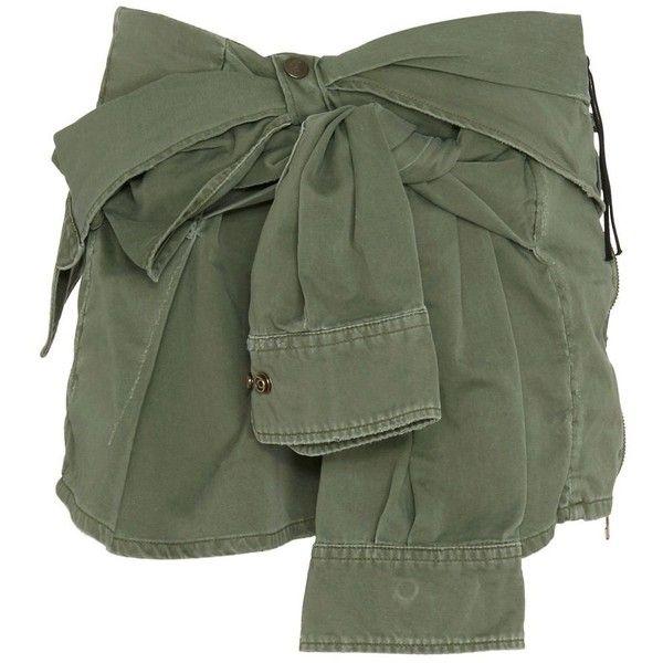 Faith Connexion Tie-Sleeve Shirt Canvas Skirt ($389) ❤ liked on Polyvore featuring skirts, mini skirts, bottoms, shorts, jackets, green, mini skirt, short green skirt, faith connexion and zipper skirt