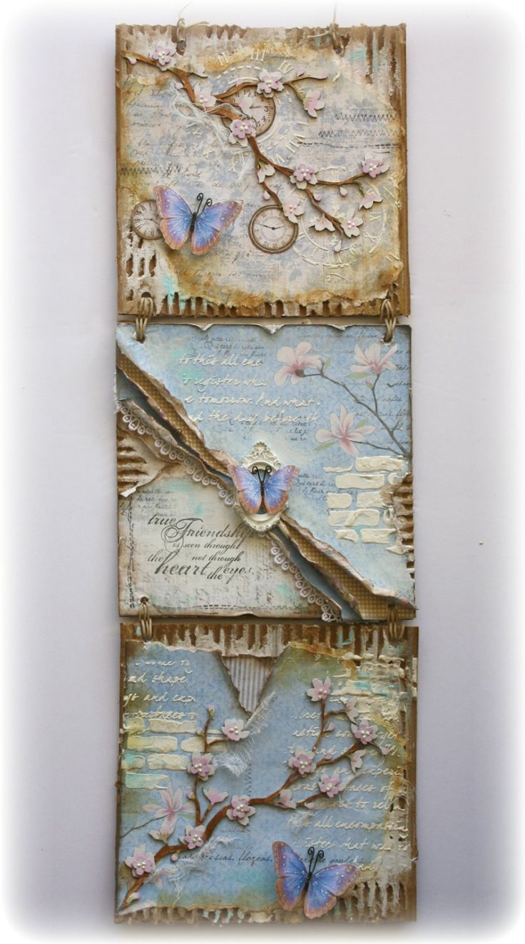 Scrapbook paper decor - 3 Pc Mixed Media Wall Hanging Made By Gabrielle Pollacco Using Maja Design Paper Dusty Attic Chipboard And Embellishments From Angelica S Little Scrap