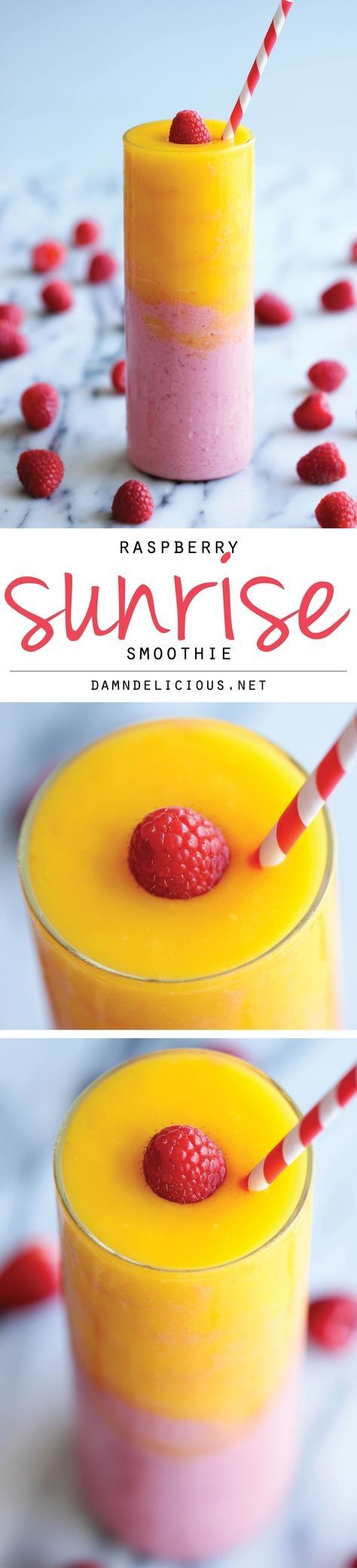 Raspberry Sunrise Smoothie - 4-ingredient raspberry mango smoothie - so easy and amazingly refreshing! #weightlosssmoothiesrecipes