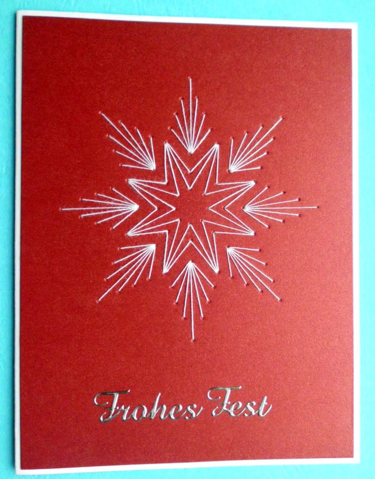 handmade Christmas card ... Selbstgemachte Weihnachtskarte ...red background with white pierced art embroidered star ...
