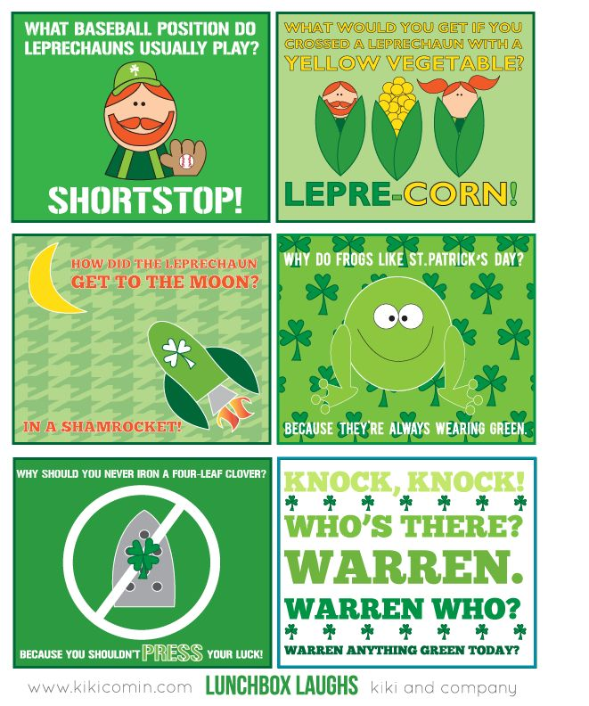 Free Lunchbox Laughs for St. Patrick's Day. These will be perfect to throw  in
