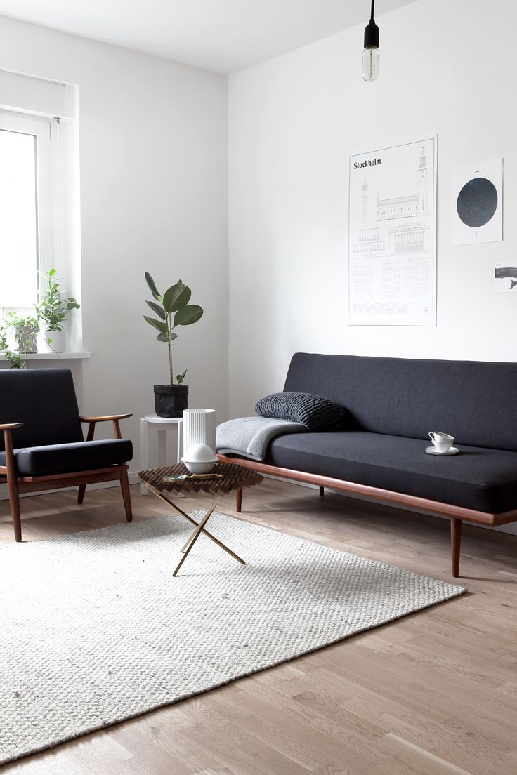 Simple & Elegant black white and wood... a touch of geen. Love it!