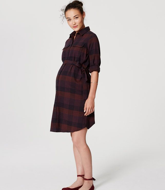 LOFT Maternity Plaid Tie Waist Shirtdress