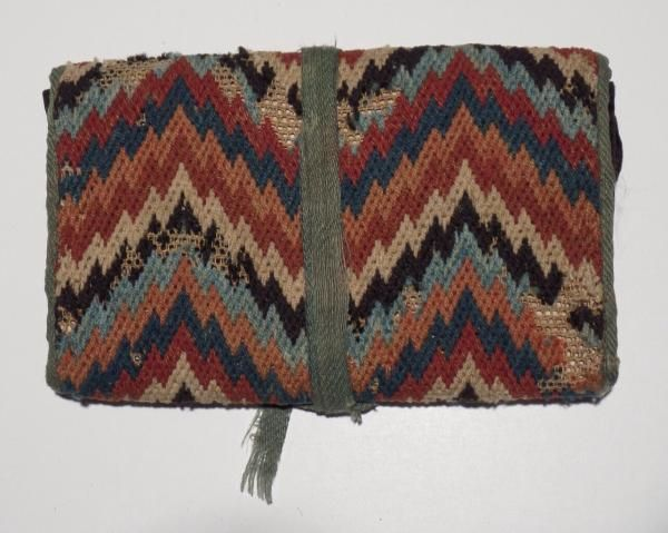 Flame Stitched Man's Wallet - 3of3 New England origin. Circa 1770. Polychrome wool threads on homespun backing with linsey-woolsey interior divider...