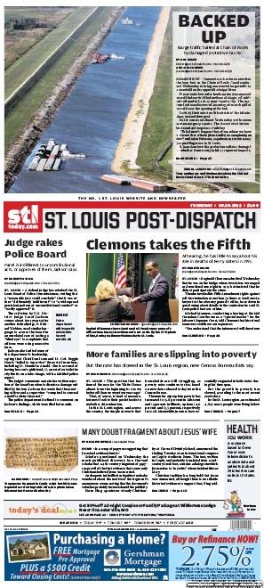 St. Louis Post-Dispatch September 20, 2012  #STL #newspapers: Postdispatch September, Newspaper Pin,  Website, Posts Dispatcher September, 2012 Stl, Louis Posts Dispatcher, Pin Collaborative, Louis Postdispatch, St. Louis