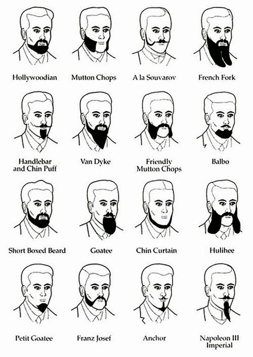 Different types of beards for men.
