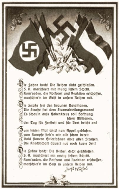 Nazi postcard with the lyrics to the Horst Wessel Lied [Song]