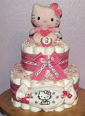 Find This Pin And More On Hello Kitty Diaper Cakes By Emilyelmore21.  HelloKittyDiaperCake/Hello Kitty Baby Shower ...