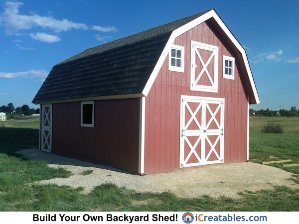 Gambrel sheds and small barn plans on pinterest for Gambrel barn plans