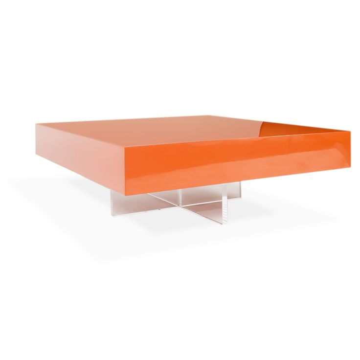 Lacquer block cocktail table minimal modern perfection for Orange coffee table