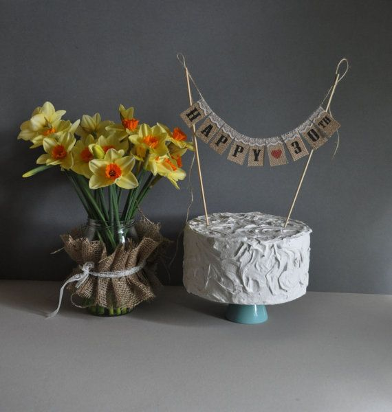 Happy 30 TH Birthday   Anniversary  Cake Topper Mini Bunting Banner Topping Shabby Chic Vintage Sweet Table Country Chic Hessian Jute