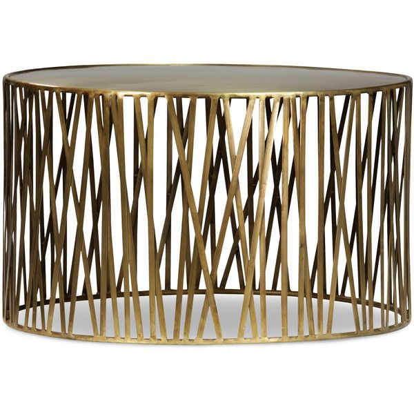 Offered Is A Brass Round Coffee Table With Smooth Finish And Modern Stick Frame