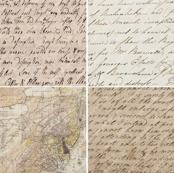 A dozen squares of vintage love letters (from the 1700s), maps, and ancient parc