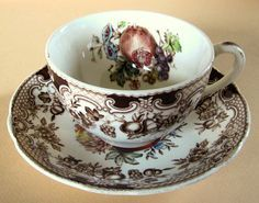 Johnson Brothers Windsor Ware Harvest Fruit Tea Cup and Saucer Plate Brown Transferware hand painted
