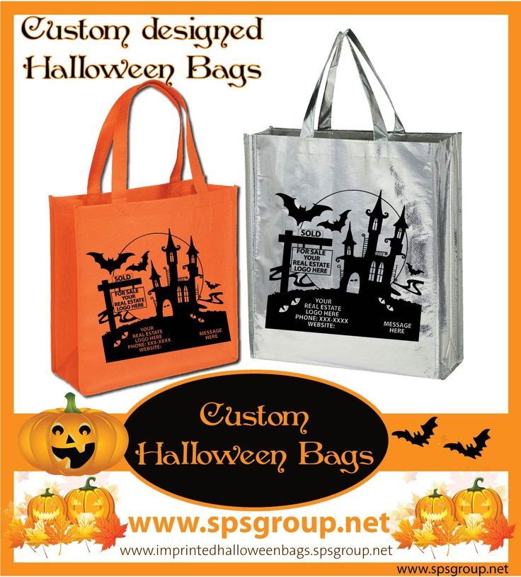 Halloween Bags, custom designed. Great giveaways for realtors, agents and real estate companies.