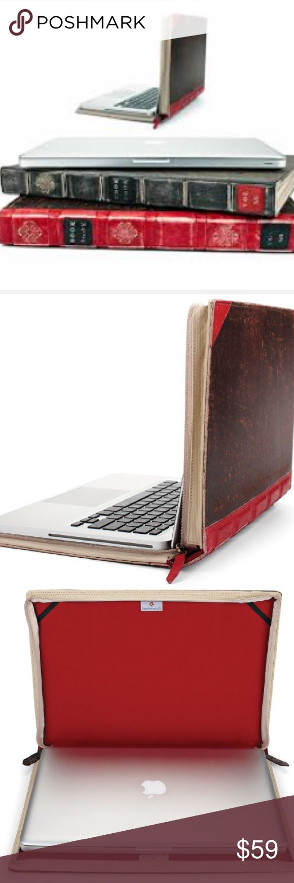 """Book Book 13 inch MacBook Pro case Twelvesouth Twelve south MacBook Pro 13 inch """"book book"""" case. Great condition. Leather cover designed to make your laptop look like a leather bound book. Twelvesouth Bags Laptop Bags"""