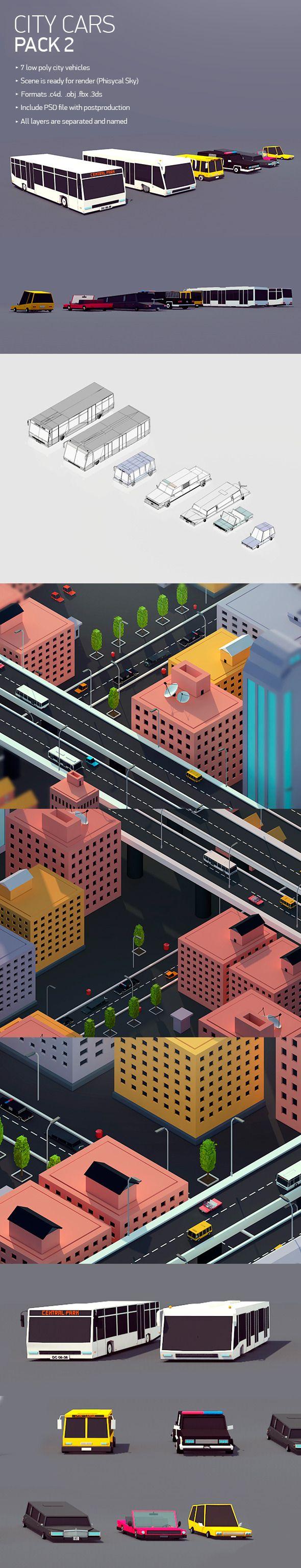 Low poly City Car Pack 2 3D Models Design Template #cinema4d #3D Download here: https://3docean.net/item/low-poly-city-car-pack-2/12764701?ref=yinkira