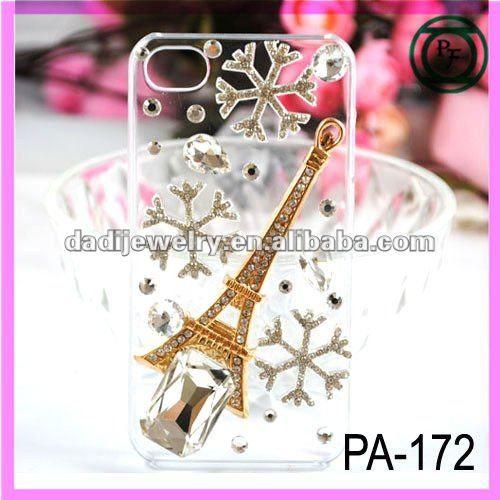 b5ce36ba8a3 diseño de la navidad de la carcasa del teléfono de diamantes de la torre  eiffel diseño transparente teléfono celular cubierta pa…