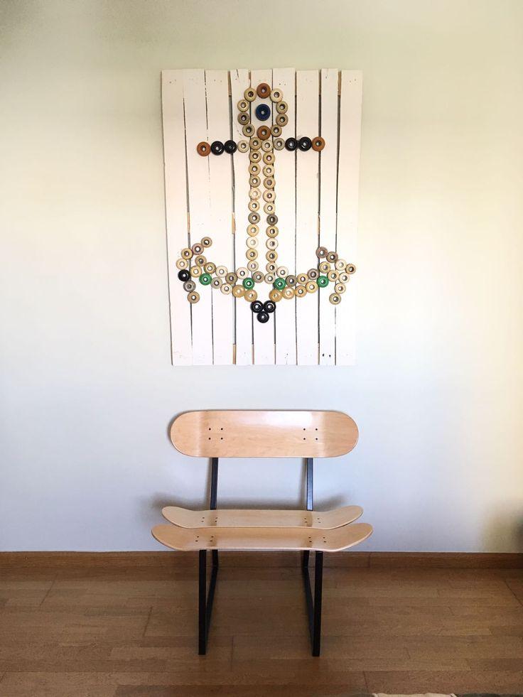 Skateboard decoration wheel wall art. Skate Chair by skate-home.com Artwork  made