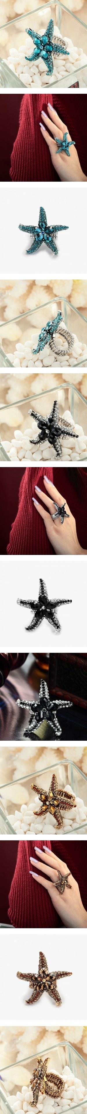 """Starfish ring"" by ki-yu ❤ liked on Polyvore"