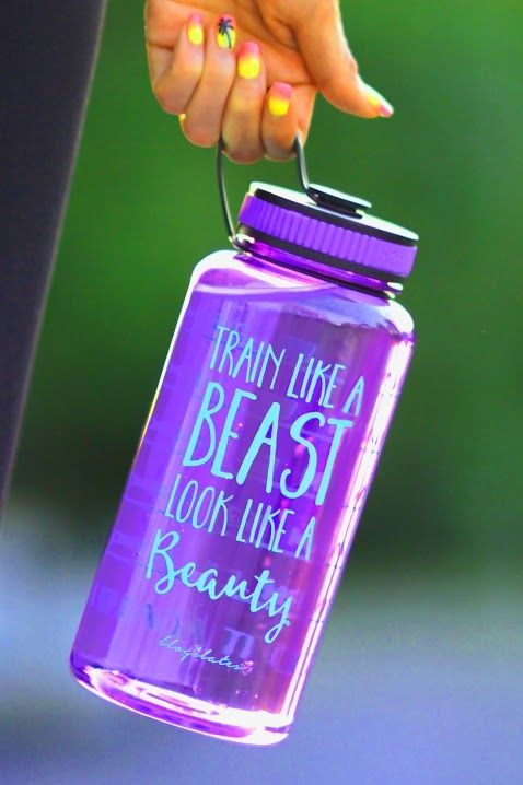 Train Like a Beast Timer Bottle in Purple. I so need this in my life. I never drink enough water a day.