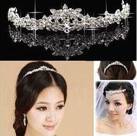 Calidad superior de lujo Classic novia cristalinos del Rhinestone nupcial del pelo corona de la Tiara de la joyería de la boda accesorios