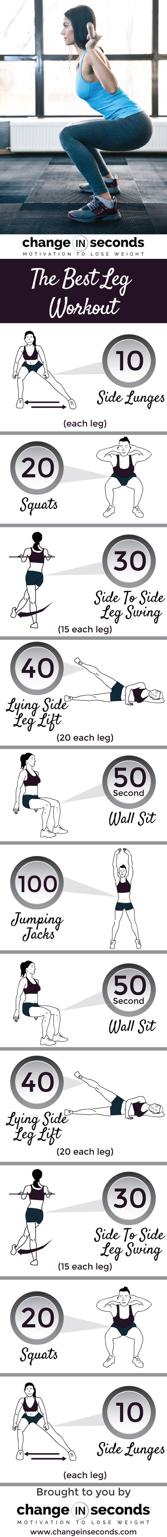 The Best Leg Workout (Download PDF) - From Change in Seconds :: @changeinseconds :: | Glamour Shots Photography << fitness infographic >>