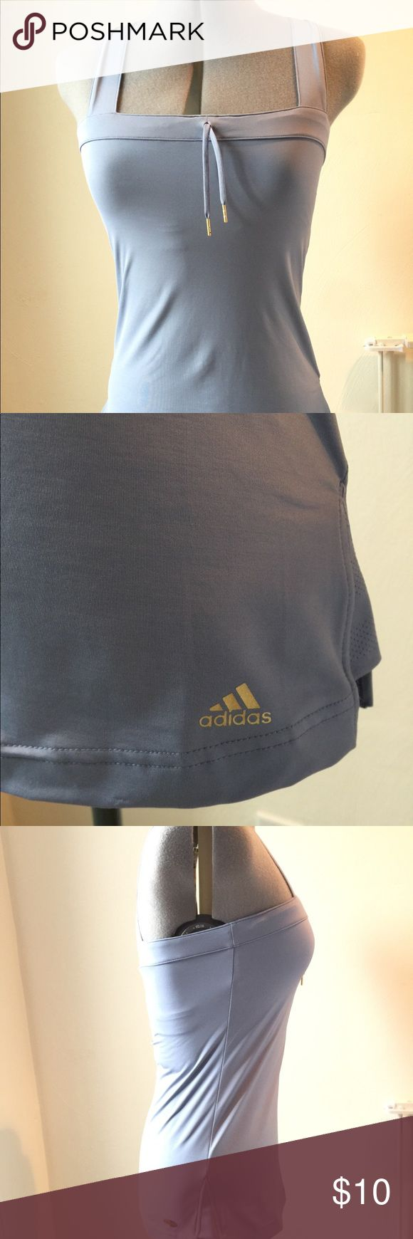 Adidas Athletic Top Shelf bra. Light silvery blue. Climalite material. Worn once, maybe twice. adidas Tops Tank Tops