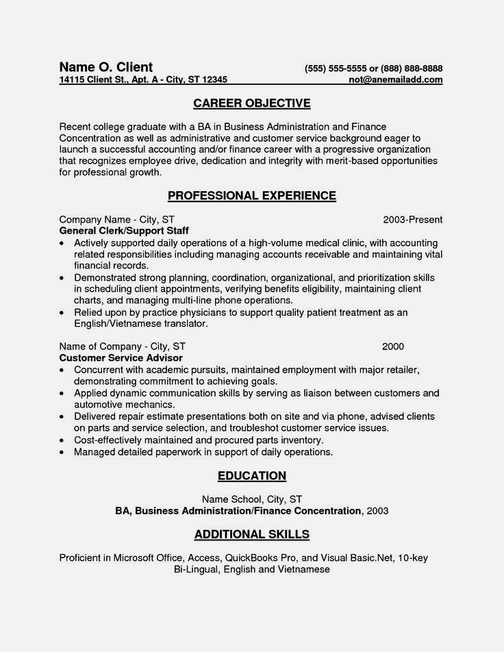 Entry Level Accounting Sample Resume Objectives Template Cover Letter