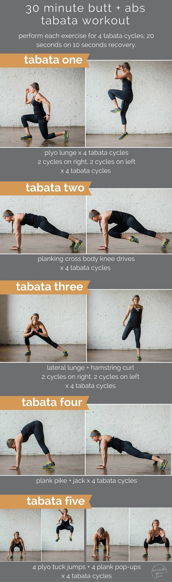 30 minute butt + abs tabata workout | is swimsuit season creeping up on you? have no fear, your butt and abs makeover is here in the form of a 30 minute tabata workout! | www.nourishmovelove.com
