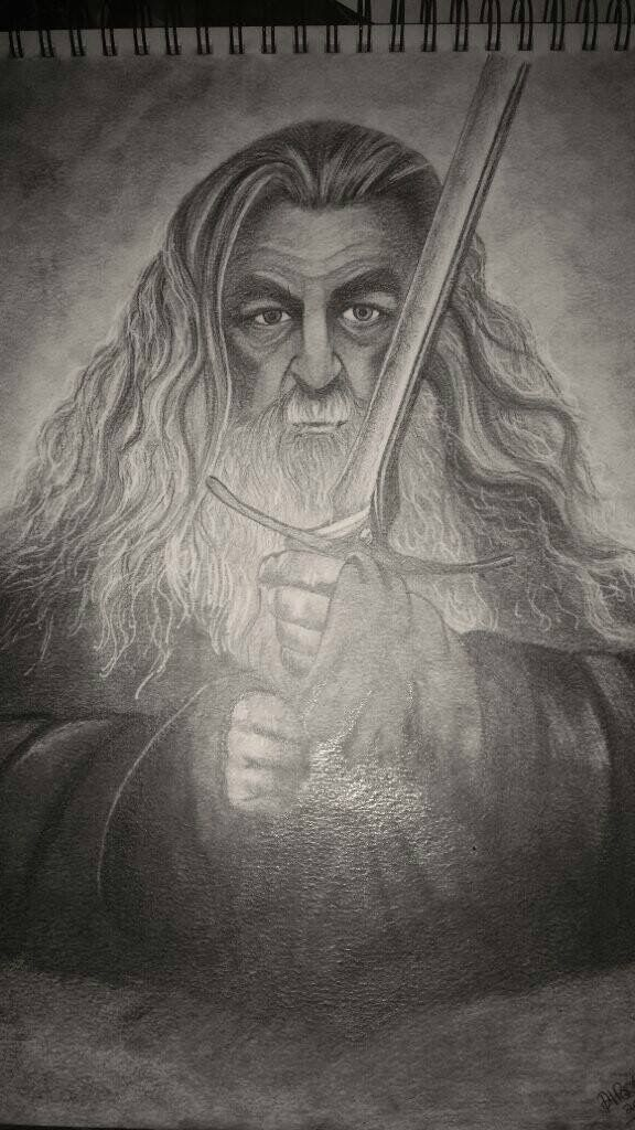 Original graphite drawing, Gandalf the grey. (The hobbit)