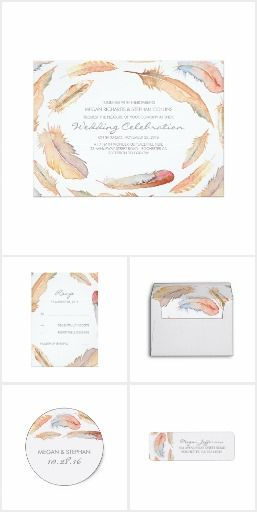 Watercolor Feathers Boho Tribal Wedding Collection