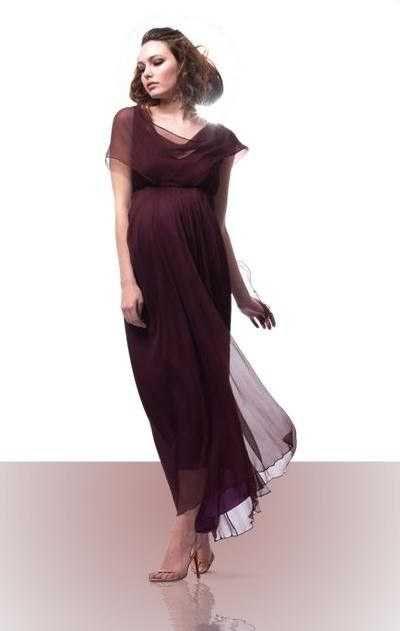 Elegante vestido largo para embarazada.