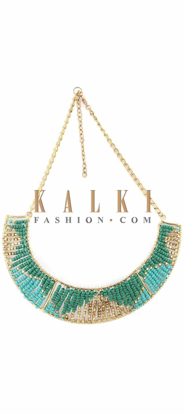 Buy Online from the link below. We ship worldwide (Free Shipping over US$100) Price-$29 Click Anywhere to Tag http://www.kalkifashion.com/sea-blue-and-se-green-moti-embellished-necklace-only-on-kalki.html