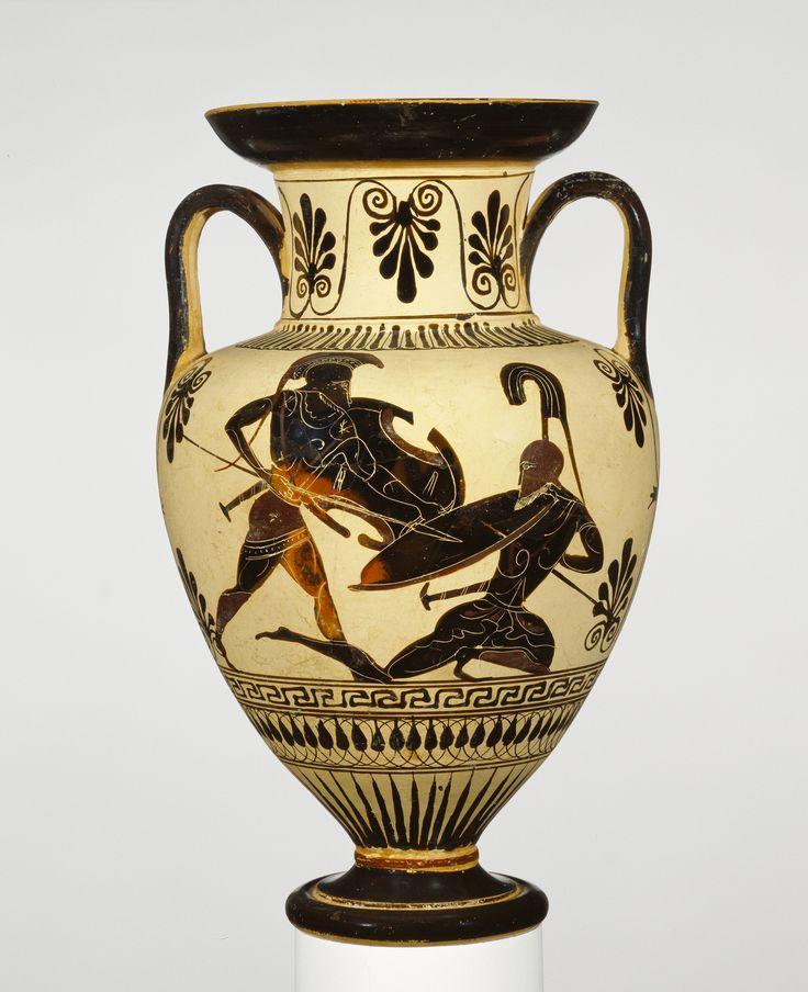 Greek, Athens, about 500 – 480 B.C.. Terracotta Storage Jar depicting an unidentified battle scene from the Iliad