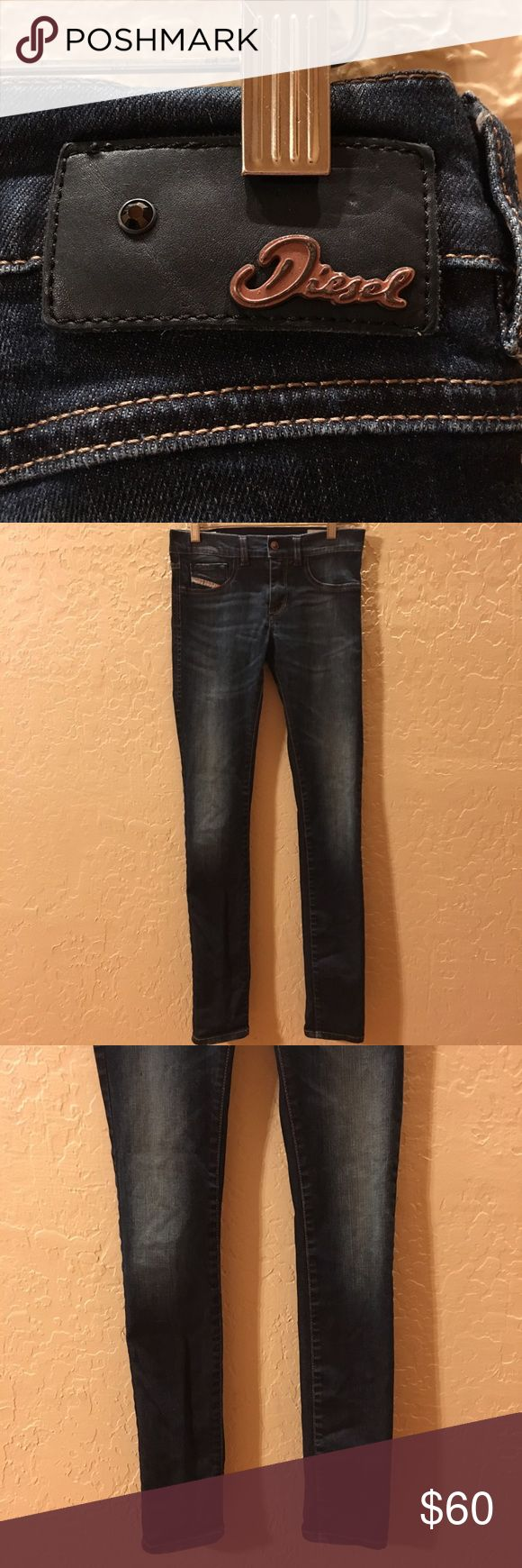 "Diesel Livier Stretch JJ Legging Jeans dark wash Gently Used with out flaws.  25X30.  Measures 26"" waist and 30"" inseam. Dark wash skinny.  Smoke & pet free home. Diesel Jeans Skinny"