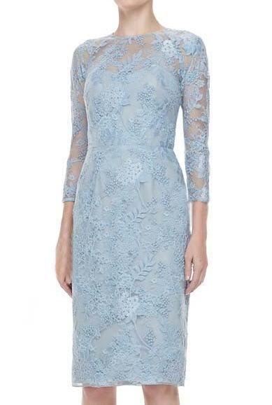 Morpheus Boutique  - Blue Jacquard Hollow Out 3/4 Sleeve Pencil Designer Dress