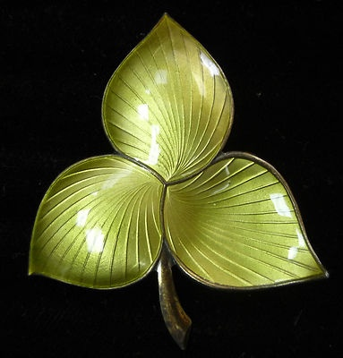 Vintage Ivar T Holt Enameled 925s Sterling Silver Green Leaf Norway Brooch Pin | eBay