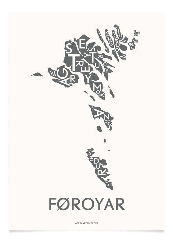 Føroyar-plakat. 50x70 cm Kan købes online via kortkartellet.dk -   http://kortkartellet.dk/collections/faeroerne/products/foroyar-koksgra-50x70-cm